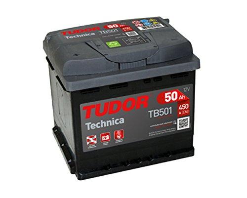 Batería para coche Tudor Exide Technica 50Ah, 12V. Dimensiones: 207 x 175 x 190. Borne izquierda.