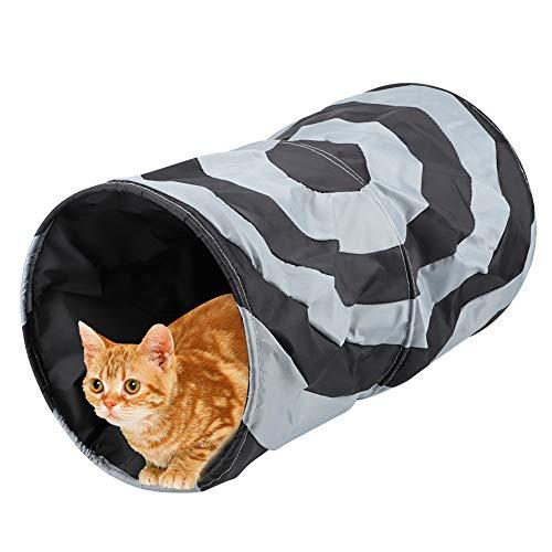 Pssopp Katze Tunnel Faltbare Polyester Katze Spielen Tunnel Road Katzentunnel Katzenspielzeug Rascheltunnel Spieltunnel für Katze Welpe Kitty Kätzchen Kaninchen(schwarz)