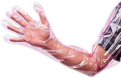 Rurumi 使い捨て ロング手袋 セット フリーサイズ ビニール手袋 プラスチック手袋 グローブ 水廻り 作業 水槽 掃除 介護 水濡れ 水 防止 防汚 防水 シャワー アーム カバー (ピンク, 100枚 セット)