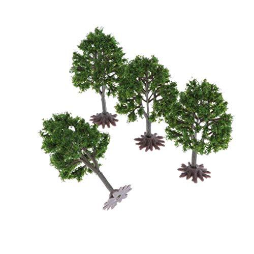 Hellery Miniatura Árbol de Bosque de Plástico de Modelo Árboles Decorar para Fiesta en Parque de Jardín - 4 Piezas