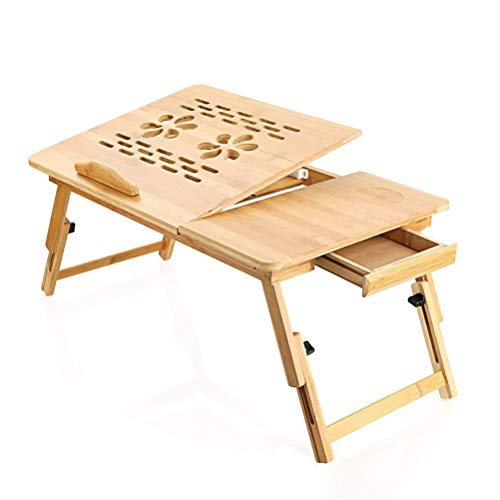 N \ A Adjustable Laptop Bed Table, Portable Bamboo Laptop Stand Notebook Table Dorm Desk with Foldable Legs & Cup Slot, for Eating Breakfast, Reading