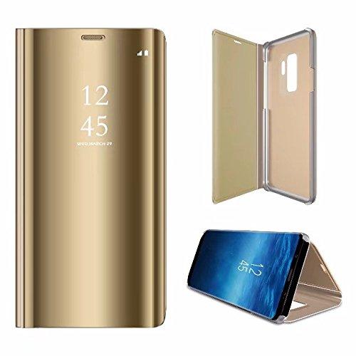 Yobby Spiegel Hülle für Samsung Galaxy A6 Plus 2018,Samsung Galaxy A6 Plus 2018 Handyhülle Technologie Überzug Durchsichtig Aussicht Fenster Stand PC Flip Cover Schlank Schutzhülle-Gold