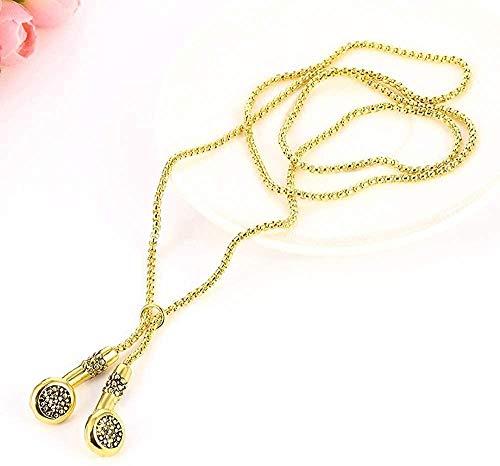 Ahuyongqing Co.,ltd Collar Joyas Hombres Collar Hip Hop Música Auriculares Collares Pendientes Regalos geniales Cadena Larga para Hombre Oro Plata Color Kolye