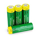 Rechargeable AA Batteries,3000 mAh High Capacity Ni-MH Pre-Charged 1.2V Double A Battery for Remotes,String Lights,Clock,Toys,Flashlight,Mouse with Battery Storage Case-4 Pack
