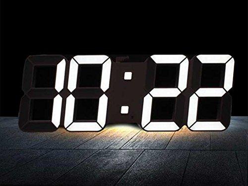 LEDデジタル 壁掛け時計(本体ブラック×LEDホワイト) リモコン付 温度表示 インテリア インダストリアル モノトーン
