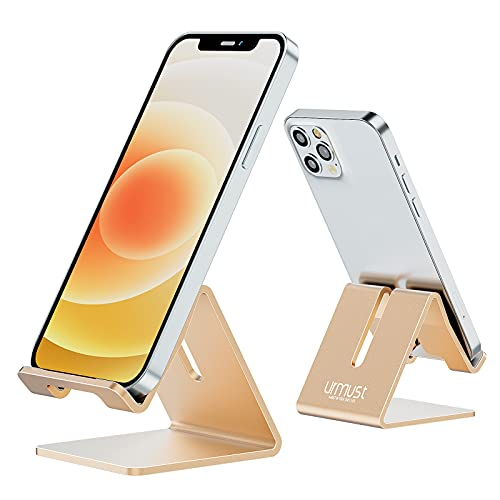 Desk Cell Phone Stand Holder Aluminum Phone Dock Cradle Compatible with Switch, All Android Smartphone, for iPhone 12 11 Pro Xs Xs Max Xr X 8 7 6 6s Plus 5 5s 5c, Accessories Desk (Gold)