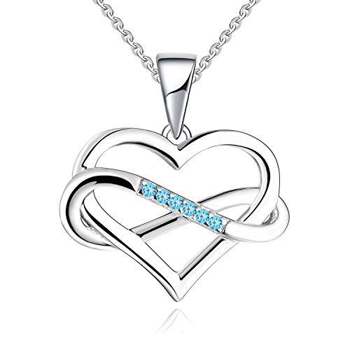 JO WISDOM Collares Colgante Plata de ley 925 Corazón Infinito Cristales Swarovski Mujer Joyería