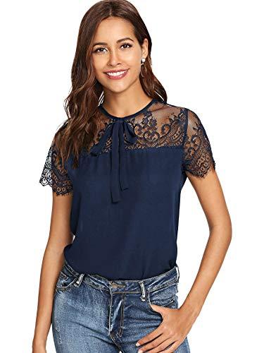 DIDK Damen T-Shirt Bluse mit Spitzen Knoten Schleife Vorn Oberteil Tops Marineblau M