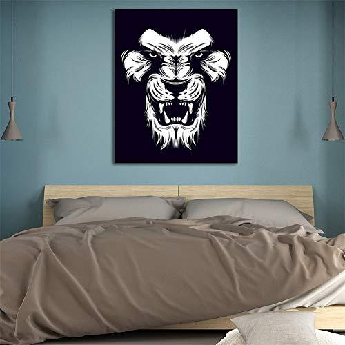 SADHAF kunstdruk op canvas, motief: Lion Abstract, kleur linnen, voor woonkamer, slaapkamer, huisdecoratie 30x40cm (senza cornice) A1.