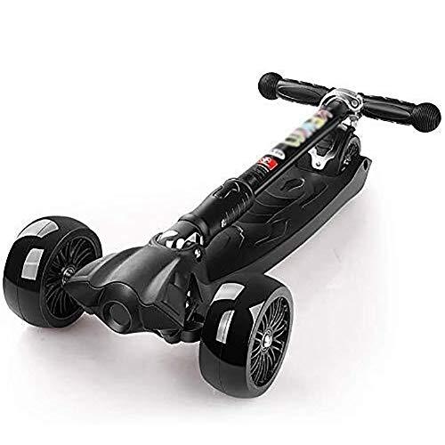Scooter H-Roller Kinderroller Tretroller Kickscooter Bars, Erwachsene Räder, Kick-Faltbarer Kinder for 100 kg Kapazität, justierbarer Handgriff, Stoßdämpfung Kick mit Pu Blitz-Rad, em