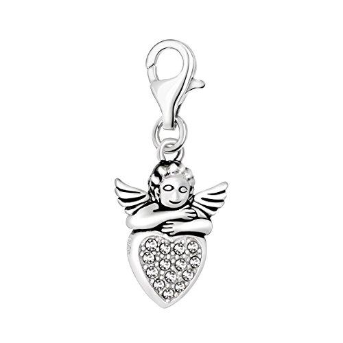 Quiges Charm Anhänger Weiß Zirkonia 3D Amor Cupido Engel Herz 925 Silber mit Karabinerverschluss für Bettelarmband