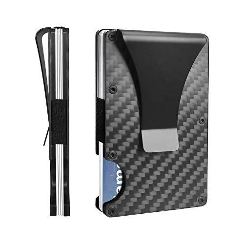 RFID Blocking - Carbon Fiber Minimalist Wallet for Men - Credit Card Holder Money Clip - Ideal Gift (Carbon fiber)