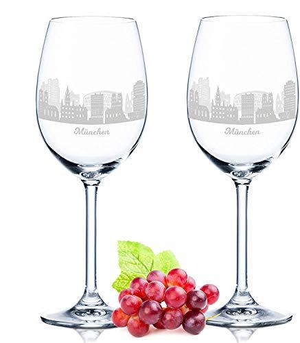 Leonardo Weinglas mit Gravur - München Geschenk im 2er Set - Weingeschenk - Souvenir Andenken & Mitbringsel - Geburtstagsgeschenk für Sie & Ihn
