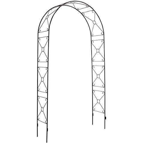 DOEWORKS Garden Arch, Rose Arbor with Sharp Ends for Various Climbing Plant, Outdoor Garden Lawn Backyard, Weeding, Black, 3' 11''Wide x 7'10''High