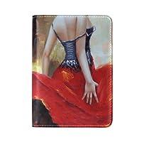 水彩画赤い美しさ旅行男性女性のためのパスポートホルダー本革カバーケース