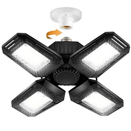 LED Garage Lights, LHKNL 12000LM Ultra Bright 120W Deformable Garage Ceiling Light with 4 Adjustable Panels, LED Shop Light with E26 Lamp Socket, Ceiling Light Fixture for Garage, Warehouse, Basement