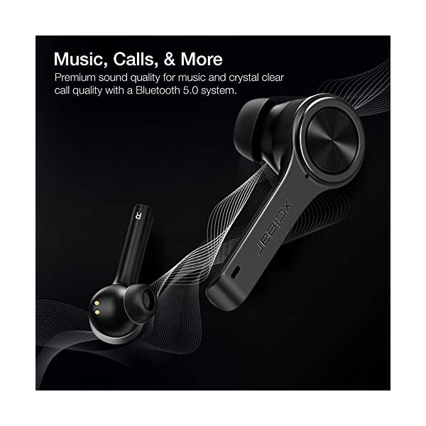 XClear Wireless Earbuds with Immersive Sounds True 5.0 Bluetooth in-Ear Headphones with Charging Case/Quick-Pairing Stereo Calls/Built-in Microphones/IPX5 Sweatproof/Pumping Bass for Sports Black 4