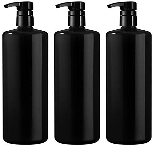 BAR5F Empty Shampoo Bottles with Pump, Black, Great 1 Liter/32 Ounce Refillable Dispensing Containers for Conditioner, Body Wash, Hair Gel, Liquid Soap, DIY, Gloss Finish (Pack of 3)
