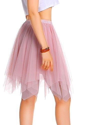 AMORETU Damen Knielange Asymmetrischer Gummibund Ausgestellter Zipfel Tüll Rock, Rosa, S/M=DE 34-46