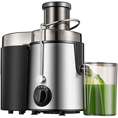 Licuadora de frutas y verduras, 400 W, extractor de zumo en frío de 65 mm, licuadora de acero inoxidable con 3 velocidades, función antigoteo, fácil limpieza, sin BPA