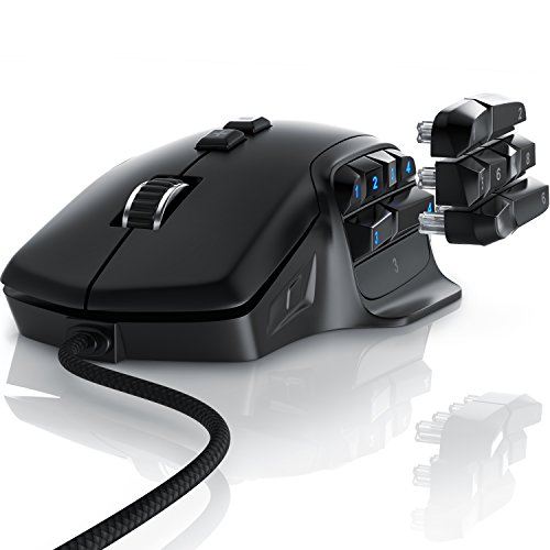 Titanwolf - Gaming Maus mit 10000 DPI Abtastrate - 6 DPI-Einstellungen - Auswechselbare Daumen-Tasten - RGB Lichtmodi - Optischer Pixart Präzisionssensor - Polling-Rate bis 1000 Hz