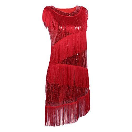 HomeDecTime Frauen Pailletten Quaste Fransen Troddel 1920s Kleid Charleston Keid Abendkleider Ballkleider mit Handschuhe Halskette - rot