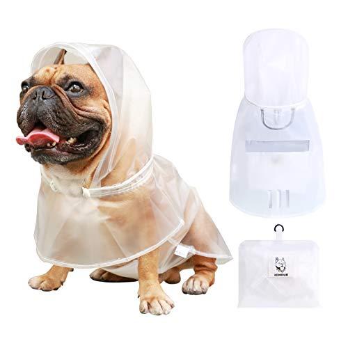 iChoue Dog Raincoat Rain Coat Jacket Poncho Hoodies with Hood Reflective Adjustable Rainwear for Large French Bulldog Pug (Clear, L)