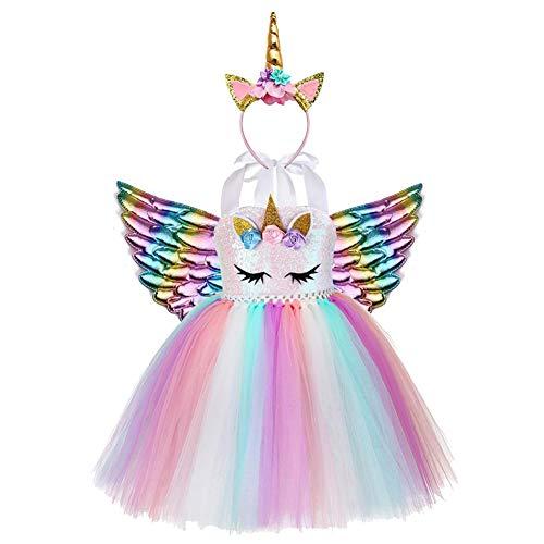 AJEUNGAIN Vestito Unicorno Bambina Paillettes, Costume Unicorno Bambina Abito tutù, Vestito Principessa di Carnevale Unicorno Ragazze, Vestiti Compleanno Unicorno Bambina