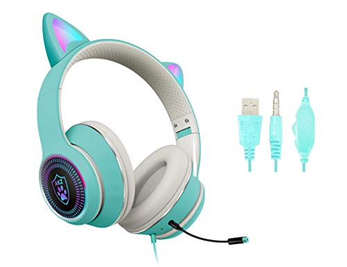 Cat Ear Gaming Headphones Wired AUX 3.5mm with LED Light, VIGROS Flashing Stereo Game Headphones Surround Sound Over-Ear Headsets with Microphone Fit Kids & Adult for PC, PS4, Switch, Mobile, Laptop