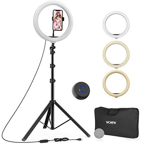 Ringleuchte mit Stativ 167,5 cm, 12 zoll/30 cm LED Ringlicht mit Flexibel Handyhalter, Fernbedienung, Tragetasche und Anleitung Akku für YouTube / Fotografie / Live-Stream / Make-up / TikTok
