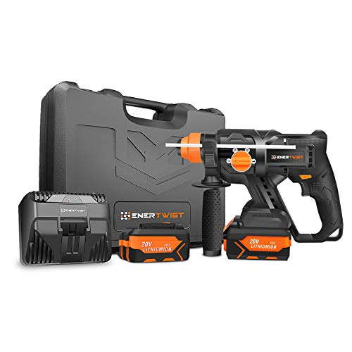 EnerTwist 20V MAX Brushless Cordless Rotary Hammer SDS Kit w/ 2-Packs 4.0Ah Lithium-Ion Battery, Fast Charger and Tough Carrying Case, ET-RH-20BL