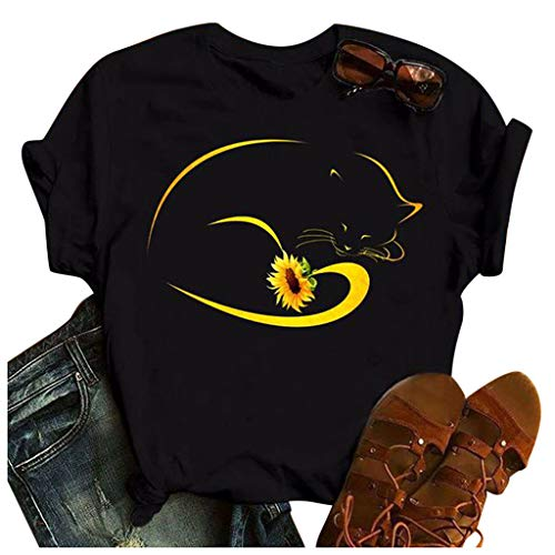 Damen Sonnenblumen T-Shirt Frauen Sommer Oberteile Rundhals Kurzarm Shirt Tops Tee Lustiges T-Shirt Vintage Retro Penguin Shirt Kurzarm Sommer Oberteile Tee Tops