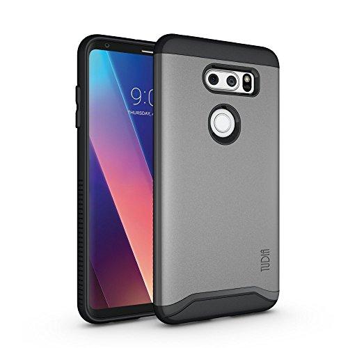 TUDIA DualShield Designed for LG V30 Case/LG V30+ Case, [Merge] Heavy Duty Dual Layer Slim Case for LG V30/LG V30 Plus (Metallic Slate)
