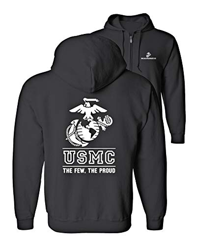 Lucky Ride USMC Logo Hooded Sweatshirt (Full Zip) Hoodie The Few The Proud, Black, XL