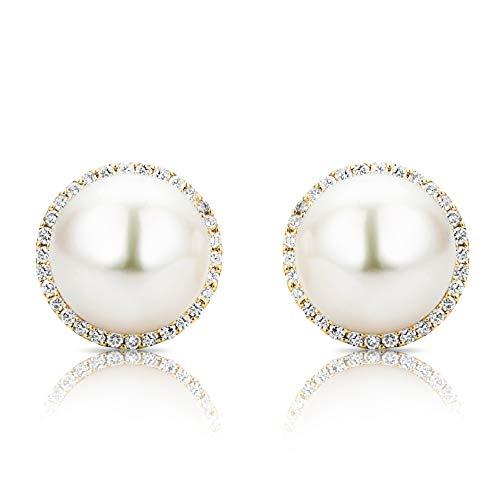 Miore Ohrringe Damen 0.35 Ct Diamant Ohrstecker mit weiße Süßwasserplen aus Gelbgold 18 Karat / 750 Gold, Ohrschmuck mit Diamanten Brillanten