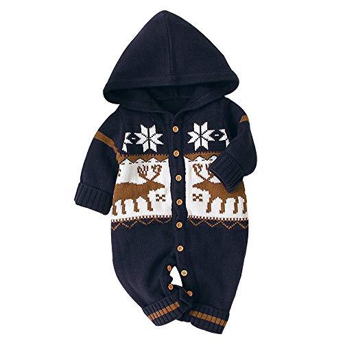 Mono de Manga Larga para bebé Mameluco con Capucha de Ciervo Disfraz Navidad Mono Estampado 0-24 Meses Jumpsuit recién Nacido bebé Unisex Pijama de una Pieza
