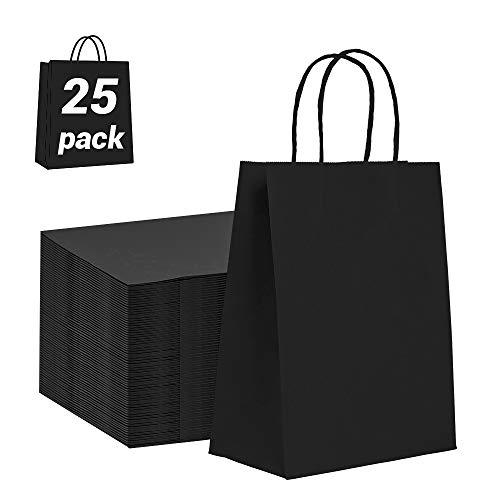 25 Pièces Sac Cadeau Noir, Sac en Papier Kraft avec Poignée 23×8×17 cm Papier Sac Cadeau Recyclable, Sachet Papier pour Anniversaire Mariage Noël et Célébrations de Fête (Épaissir, 130gsm)