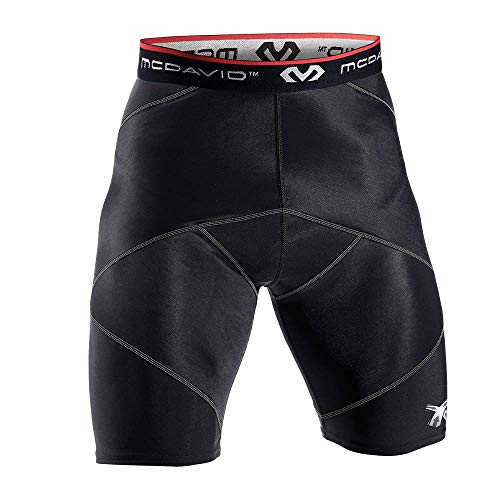 McDavid Cross Compression Shorts, Men's Performance Boxer Brief w/ Hip Flexor - thick compression material for recovery and support Black Large