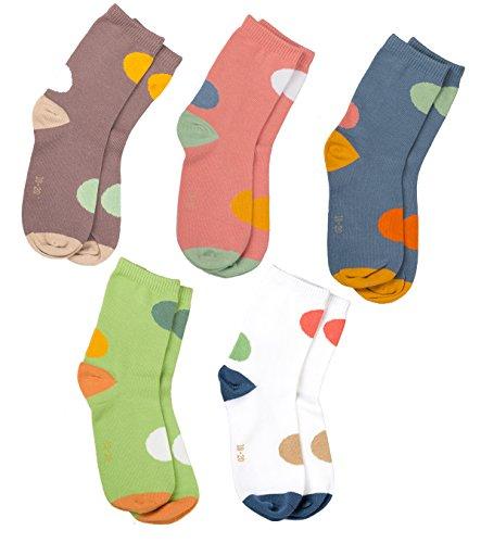 Maiwa Kinder Baumwolle keine Nähte Socken für Mädchen Jungen 5 Pack (Große Kinder30-33 EU/18cm-20cm)