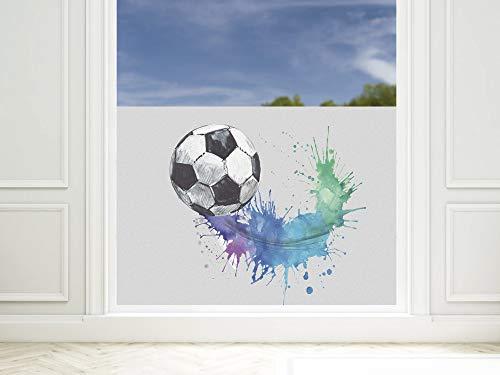 GRAZDesign Fensterfolie Kinderzimmer für Jungen, Sichtschutzfolie Glasfolie mit Motiv Fußball / 80x57cm