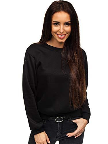 BOLF Damen Sweatshirt Pullover ohne Kapuze Basic Langarmshirt Top Baumwollmischung Pulli Rundhals-Ausschnitt Sweater Farbvarianten Sportlich Fitness J.Style W01 Schwarz L [A1A]