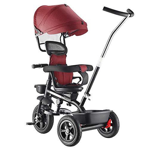 YumEIGE driewieler voor kinderen, titanium Empty fiets, kinderdriewieler 50 kg belasting 1-6 jaar oud, kinderwagen driewieler met zadel roterende + vouwpedaal + stang gegalvaniseerd push rood