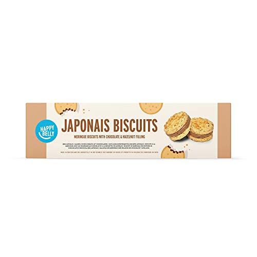 Amazon-Marke - Happy Belly - Japonais- Kekse (Mandel-Baiser-Gebäck mit Schoko & Haselnuss) - 8er-Pack ( à 100 g )