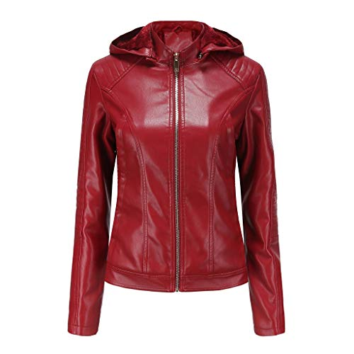 QingJiu Damen Winter Warme Lederjacke Kurzer Reißverschluss mit Kapuze Mantel Einfarbig Lokomotive Outwear