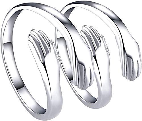 Anillos para mujeres, hombres y niñas, 2 piezas de plata con amor para abrazar las manos, anillo abierto, joyería, abrazos, manos, anillos llamativos, alianzas de boda