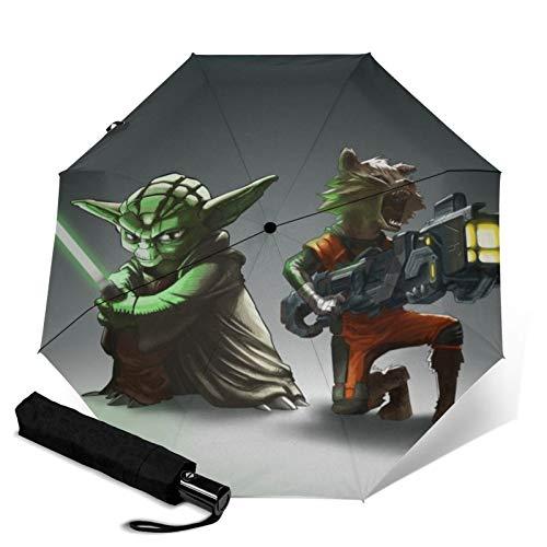 Star Wars Yoda - Paraguas de viaje plegable con tres pliegues