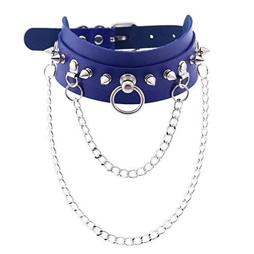 Collar Colgante Joyería Collar De Exageración Moda Rock Punk Skull Collares Collar Vintage Mujer Joyería-Royal_Blue