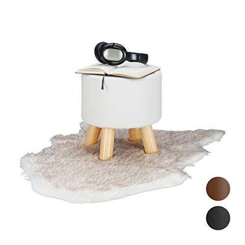 Relaxdays Hocker Kunstleder, gepolstert, 4 Holzbeine, Flacher Fußhocker, runder Dekohocker, H x D: 30 x 31 cm, weiß, Größe