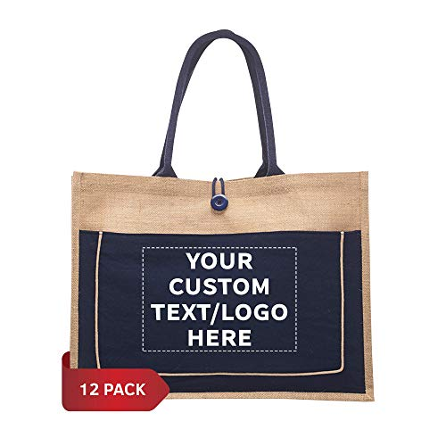 Jute Tote Bags with Cotton Pocket - 6 pack - Customizable Text, Logo - Grocery Shopping Bag Totes - Navy Blue