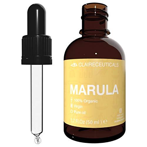 CLAIRECEUTICALS Marula Öl - Marula Oil 50ml I Bio Oil Skincare - Haaröl Trockenes Haar - Natürliches Anti Aging Vitamin C Serum für Gesicht und Körper, auch als Bartöl, Haar Elixir, Conditioner.